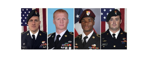 Staff Sgt. Bryan Black, from left, Staff Sgt. Jeremiah Johnson, Sgt. La David Johnson and Staff Sgt. Dustin Wright were killed in Niger when a joint patrol of American and Niger forces was ambushed on Oct. 4. (Army via AP)
