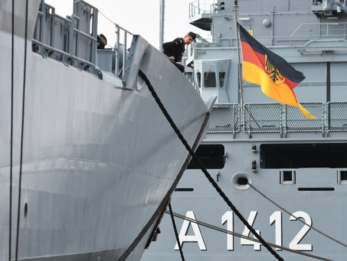 The German Navy frigate Hessen returns to port July 21, 2018, in Wilhelmshaven, Germany. Berlin is unwilling to partake in a multinational coalition to secure shipping lanes through the Strait of Hormuz from Iranian harassment if the U.S. is involved. (David Hecker/Getty Images)