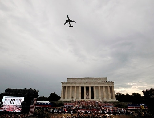 Special Air Mission 28000, Air Force One when the president is aboard, flies over Washington during an Independence Day celebration attended by President Donald Trump at the Lincoln Memorial on July 4, 2019, in Washington. (Alex Brandon/AP)