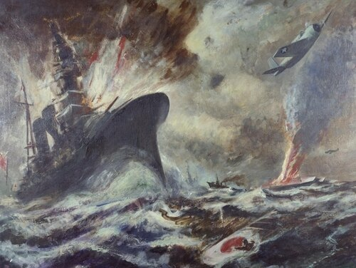 Painting of the Battle of Midway, oil on canvas, by Robert Benny (U.S. Naval History and Heritage Command)