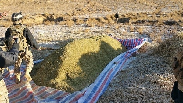 A combined Afghan Special Mission Wing and National Interdiction Unit operation targeting a Taliban drug facilitation location resulted in the seizure of 34 tons of raw hashish and 300 kg of processed hashish in Mohammed Agha district, Logar province, Afghanistan, Dec. 12, 2017. The confiscated hashish removed $5.6 million in potential revenue from the Taliban's criminal trafficking enterprise. (Afghan National Interdiction Unit)