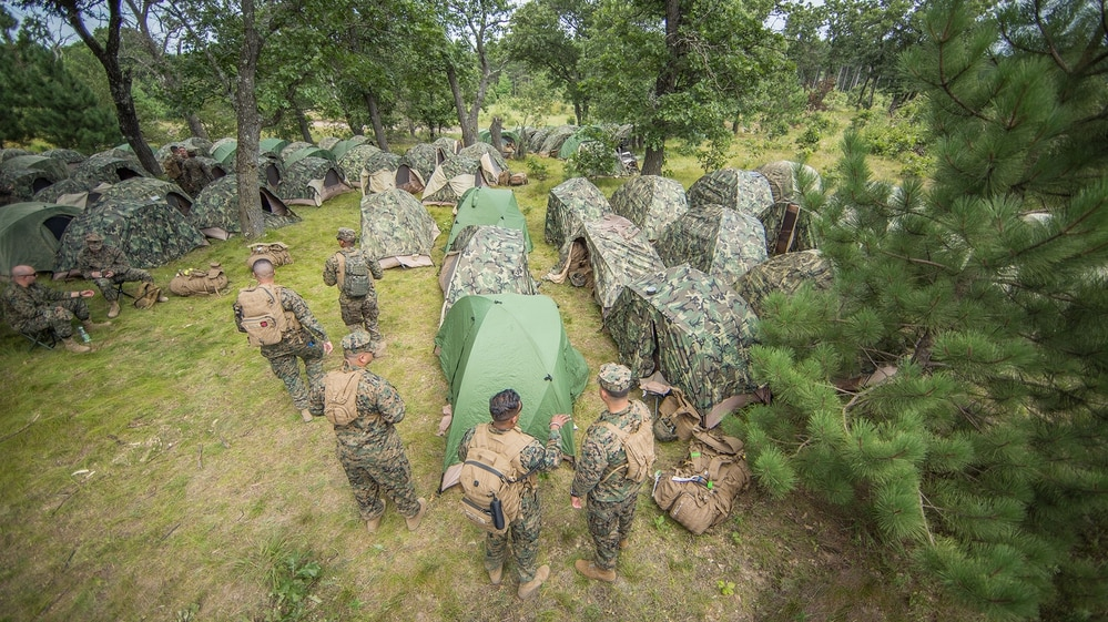 Marines assigned to the 4th Medical Battalion, Marine Forces Reserve, set up their tents along the wood line during Combat Support Training Exercise (CSTX) 86-17-02 at Fort McCoy, Wisconsin, Aug. 13, 2017. (Spc. John Russell/Army)