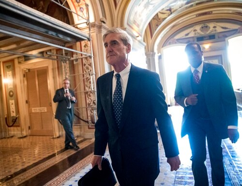 In this June 21, 2017, file photo, Special Counsel Robert Mueller departs after a closed-door meeting with members of the Senate Judiciary Committee about Russian meddling in the election at the Capitol in Washington. (J. Scott Applewhite/AP)