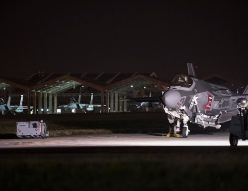 A U.S. Air Force F-35A sits loaded on the taxiway Jan. 30, 2018, at Kadena Air Base, Japan. For the first time in history, 10 F-35As were loaded while at Kadena Air Base as part of an exercise. (Senior Airman Quay Drawdy/U.S. Air Force)