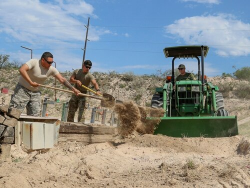 Texas Guardsmen from El Paso's 3rd Battalion 133 Field Artillery Regiment assist at the Del Rio sector's weapons range for U.S. Customs and Border Protection in this May 16, 2018, photo. The troops' efforts cut the workloads of the CBP agents by running the range and lessens the time the range is down. (Sgt. 1st Class Suzanne Ringle/Army)