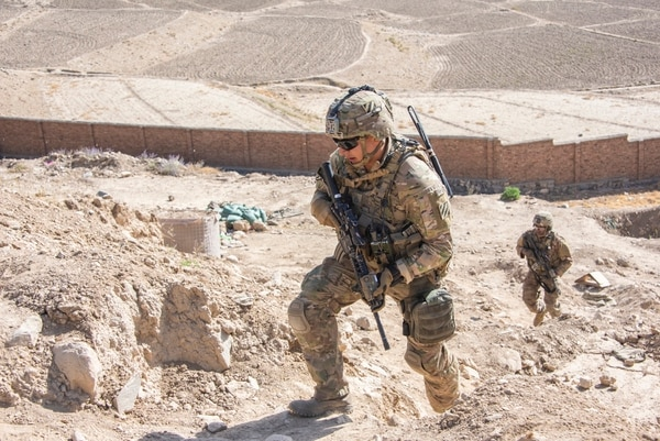 Soldiers with the 3rd Infantry Division provide extra security for a 1st Security Force Assistance Brigade adviser mission near Kabul on Sept. 16, 2018. (Sean Kimmons/Army)
