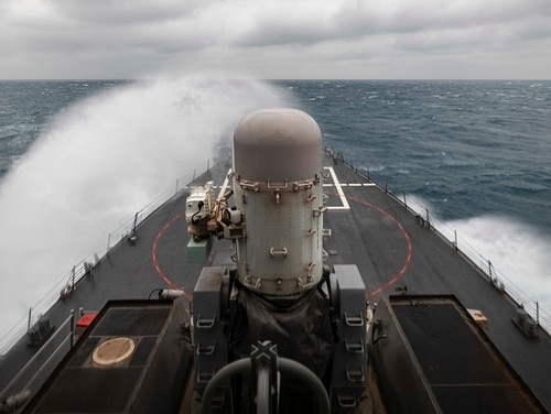 The guided-missile destroyer John S. McCain at sea in December. (Navy)
