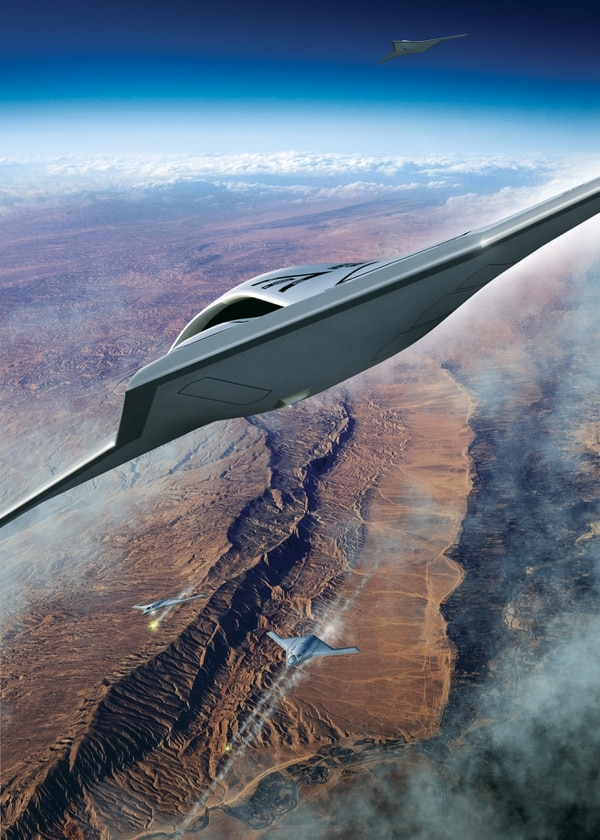 Northrop Grumman unveiled concept art of its SG-2 unmanned aerial system in September 2020 as a potential offering for the Air Force's MQ-Next competition. (Northrop Grumman)