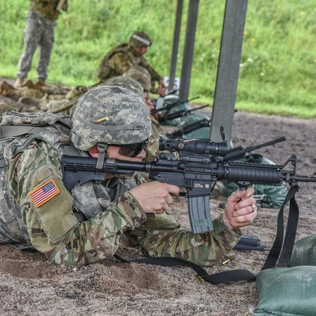Soldiers complete their annual M4 qualification at the Wackernheim Ranges in Germany. (Army)