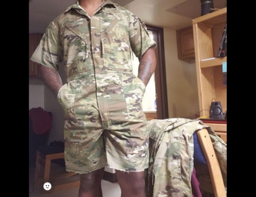 This BDU romper is the hottest thing since sliced bread. (Image via Twitter)