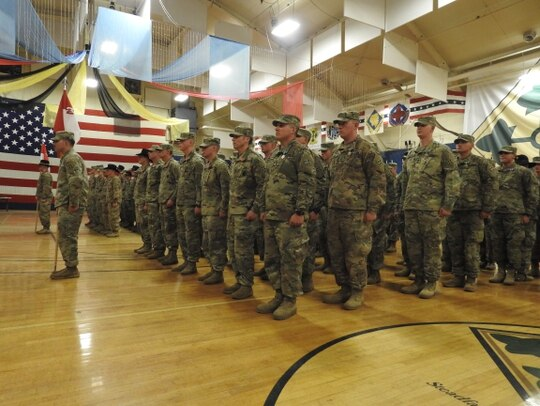 Soldiers from 2nd Squadron, 1st Cavalry Regiment stand in formation at the completion of their deployment to Afghanistan in support of Operation Freedom Sentinel and Resolute Support on March 5, 2019. (2nd Lt. Steven Pierce/Army)
