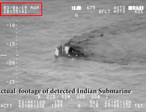 In this image made from video taken on Monday and released on Tuesday by the Pakistan Military, shows what they claim is an Indian submarine approaching its territorial waters in the Arabian Sea. Pakistan's navy says the submarine was not targeted,