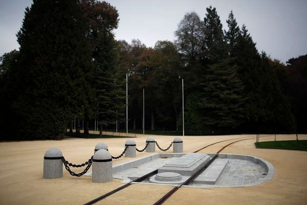 This Oct. 19, 2018, photo shows the exact location where the Nov. 11, 1918, armistice was been signed in the forest of Compiegne, north of Paris. (Thibault Camus/AP)