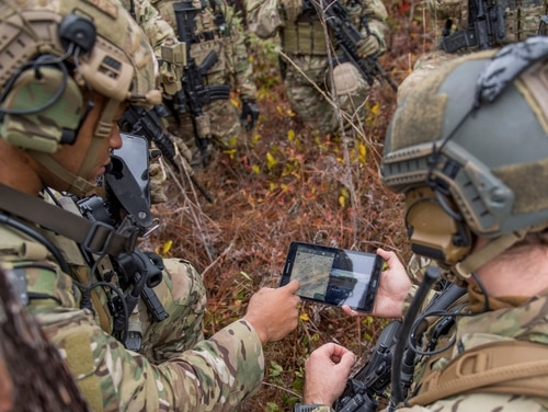 Members of the 6th Special Operations Squadron perform a training exercise showcasing the capabilities of the Advanced Battle Management System at Duke Field, Fla., on Dec. 17, 2019. (Tech Sgt. Joshua J. Garcia/U.S. Air Force)