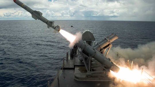 A harpoon missile launches from the missile deck of the U.S. Navy's littoral combat ship Coronado off the coast of Guam Aug. 22. (MC2 Kaleb R. Staples/U.S. Navy)