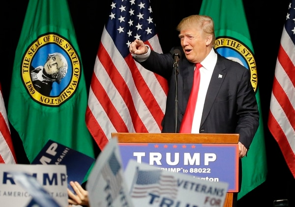 Republican presidential candidate Donald Trump speaks during a rally in Spokane, Wash., Saturday, May 7, 2016. (AP Photo/Ted S. Warren)