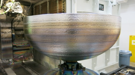 Lockheed Martin has built a 3-D printed titanium dome for satellite fuel tanks. The 46-inch- (1.16-meter-) diameter vessel completed final rounds of quality testing this month, ending a multi-year development program to create giant, high-pressure tanks that carry fuel on board satellites. (Lockheed Martin)