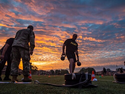 Command Sgt. Maj. Ted Copeland, command sergeant major of the U.S. Army Reserve, performs the sprint-drag-carry event for a practice Army Combat Fitness Test at Fort Eustis, Va., Oct. 25, 2019, during the Army Reserve Senior Enlisted Council. (Master Sgt. Michel Sauret/Army)