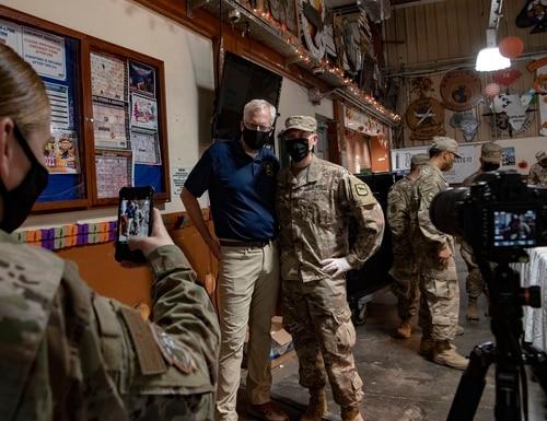 Acting Defense Secretary Christopher C. Miller visits troops on Thanksgiving Day, at Camp Lemonnier, Djibouti, Nov. 26, 2020. (Lisa Ferdinando/DoD)