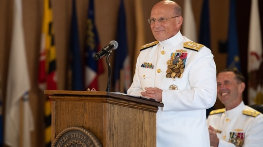 The 32nd Chief of Naval Operations Adm. Mike Gilday delivers his first remarks at the top of the sea service during a ceremony held at the Washington Navy Yard. (Mass Communication Specialist 2nd Class Ryan Kledzik/Navy)