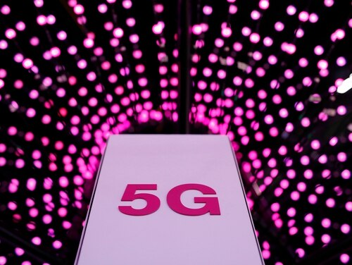 A 5G antenna on display at a Deutsche Telekom stand on the first day of the Mobile World Congress (MWC) on February 26, 2018 in Barcelona. (Pau Barrena/AFP/Getty Images)
