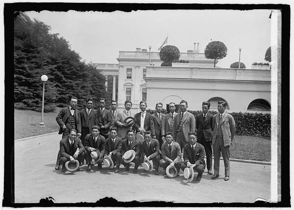 Osaka Mairuchi baseball team from Japan at the White House, Washington, D.C., on June 4, 1925. (National Photo Company, now in the Library of Congress)