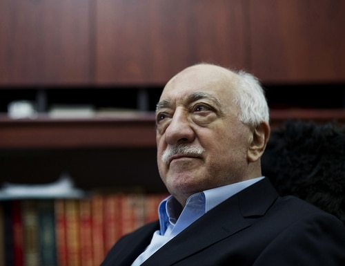 FILE - In this March 15, 2014 file photo, Turkish Muslim cleric Fethullah Gulen, sits at his residence in Saylorsburg, Pa. A lawyer for the Turkish government, Robert Amsterdam, said that
