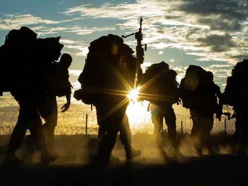 U.S. Marines conduct a hike on Camp Wilson, Marine Corps Air Ground Combat Center, Twentynine Palms, California, Nov. 2, 2019. (Pfc. Patrick King/Marine Corps)