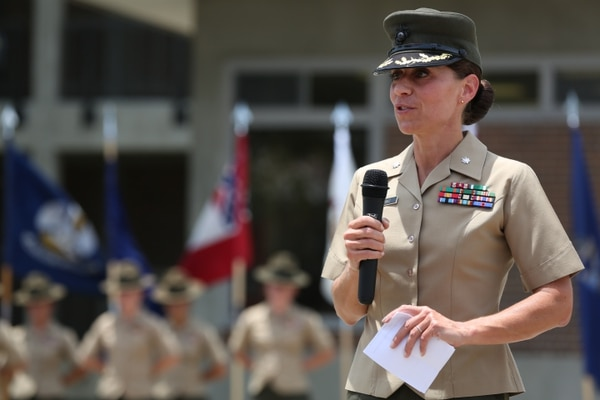 Marine Lt. Col. Kate I. Germano, battalion commander, 4th Recruit Training Battalion, Recruit Training Regiment, Marine Corps Recruit Depot Parris Island, addresses the audience during the 4th Battalion relief and appointment ceremony aboard Marine Corps Recruit Depot Parris Island, South Carolina, July 18, 2014. (Lance Cpl. Allison Lotz/Marine Corps)