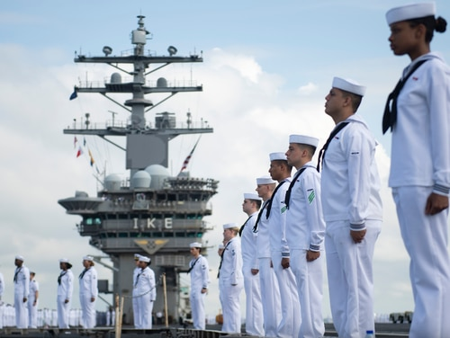 Sailors aboard the aircraft carrier Dwight D. Eisenhower completed a record-breaking 206 days at sea earlier this month as part of a deployment with no port calls due to COVID-19. (Navy)