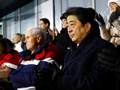 In this Feb. 9, 2018, file photo, Japanese Prime Minister Shinzo Abe, right, sits alongside Vice President Mike Pence, center, and second lady Karen Pence at the opening ceremony of the 2018 Winter Olympics in Pyeongchang, South Korea, Friday, Feb. 9, 2018. Pence was all set to hold a history-making meeting with North Korean officials during the Winter Olympics in South Korea, but Kim Jong Un's government canceled at the last minute, the Trump administration said Tuesday, Feb. 20. (Patrick Semansky/Pool, AP)