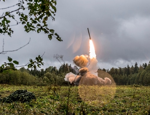 A Russian Iskander-K missile launched during a military exercise at a training ground at the Luzhsky Range, near St. Petersburg, Russia, is shown in 2017 on a Russian Defense Ministry website. Deputy Foreign Minister Sergei Ryabkov said Monday, Nov. 26, 2018 that if the U.S. deploys intermediate range missiles in Europe after opting out of the treaty banning their use, it will allow Washington to reach targets deep inside Russia. (Russian Defense Ministry Press Service via AP/File)