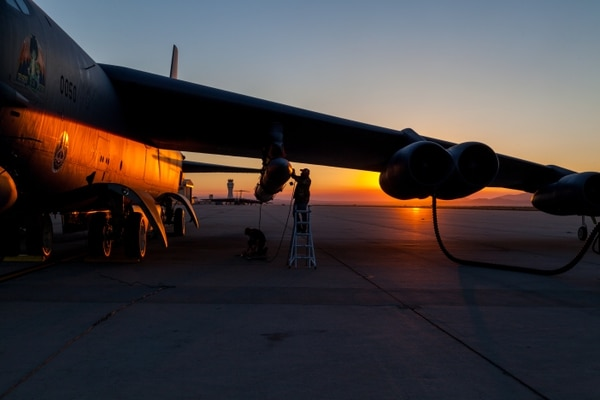 Members of the AGM-183A Air-launched Rapid Response Weapon Instrumented Measurement Vehicle 2 test team make final preparations prior to a captive-carry test flight of the prototype hypersonic weapon at Edwards Air Force Base, California, Aug. 8. (Kyle Brasier/U.S. Air Force)