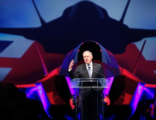 Frank Kendall, shown here during his time as undersecretary of defense for acquisition, technology and logistics, addresses guests during a 2012 delivery ceremony of British F-35 fighter jets in Fort Worth, Texas. (Tom Pennington/Getty Images)