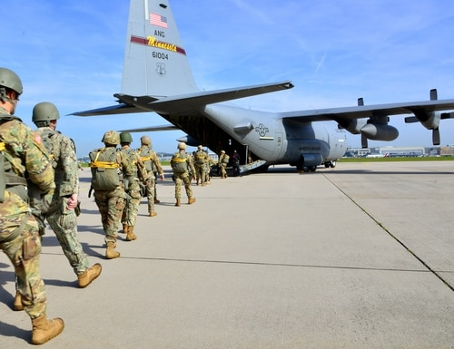 Paratroopers from U.S. Special Operations Commands Africa and Europe board a U.S. Air Force C-130 at Malmsheim Airfield in Germany on May 23, 2019. (Yvonne Najera/Department of Defense)