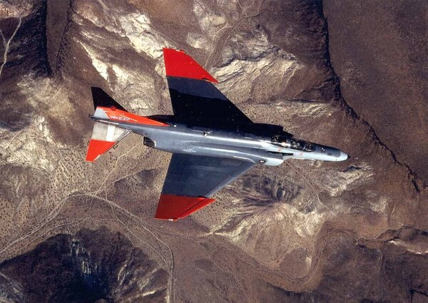 A QF-4 Drone in flight as it is tracked by a missile at Tyndall AFB, Fla. The drones are used as moving targets to test weapons. (Courtesy photo)
