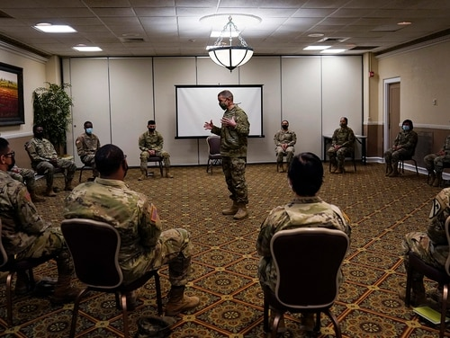 Sergeant Major of the Army Michael Grinston, center, gets feedback from soldiers about their concerns at Fort Hood, Texas, Thursday, Jan. 7, 2021. (Eric Gay/AP)