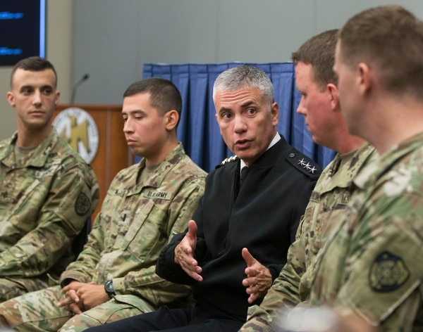 Lt. Gen. Paul Nakasone, commanding general of US Army Cyber Command, speaks during a media roundtable at the AUSA annual meeting in Washington, D.C. on Wednesday. (Mike Morones)