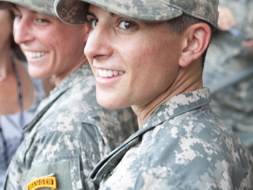 FORT BENNING, GA - AUGUST 21: Capt. Kristen Griest (R) and 1st Lt. Shaye Haver (L) with their Ranger tabs after the graduation ceremony of the United States Army's Ranger School on August 21, 2015 at Fort Benning, Georgia . Griest and Haver are the first women ever to successfully complete the U.S. Army's Ranger School. (Photo by Jessica McGowan/Getty Images) *** BESTPIX ***