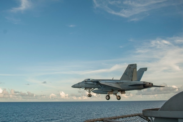 "A Strike Fighter Squadron (VFA) 81 ""Sunliners"" F/A-18E Super Hornet launches from the aircraft carrier USS Carl Vinson (CVN 70).The Pentagon has requested 24 Super Hornets in FY19 to make up for delays in the F-35 Navy variant's arrival in the fleet. (Mass Communication Specialist 2nd Class John Philip Wagner Jr./Navy)"