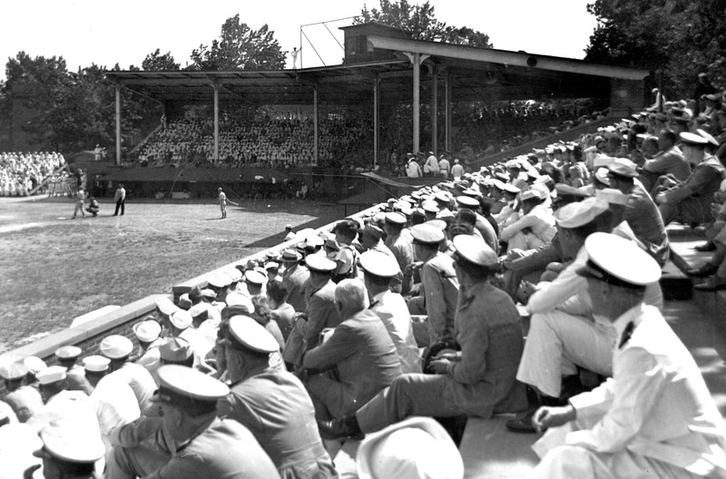An all-military morale-boosting baseball game is played at Norfolk's McClure Field in 1943. (Courtesy of Sargeant Memorial Collection, Norfolk Public Library)