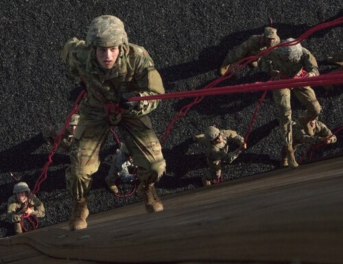 An Army ROTC cadet descends during rappel training on June 27, 2019, at Fort Knox, Kentucky. (Reagan Zimmerman/Army)