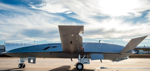 Boeing's MQ-25 reuses the fuselage the company originally designed for the Navy's UCLASS program, an ISR and strike aircraft that morphed into the service's current requirement for a tanker drone. The company internally rolled out the air vehicle in 2014. (Boeing)