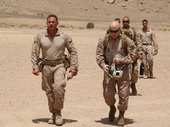 U.S. Marine Corps Lt. Col. Marcus Mainz (left), commanding officer, Battalion Landing Team, 2nd Battalion, 6th Marine Regiment (BLT 2/6), 26th Marine Expeditionary Unit (MEU), walks with Col. Farrell J. Sullivan (right), commanding officer, 26th MEU, after landing in Jordan to observe training during exercise Eager Lion, April 19, 2018. (Gunnery Sgt. Eric L. Alabiso II/Marine Corps)