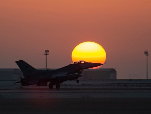 An F-16 Fighting Falcon assigned to the 480th Expeditionary Fighter Squadron lands at Al Dhafra Air Base, United Arab Emirates, on Dec. 2. (Senior Airman Bryan Guthrie/Air Force)