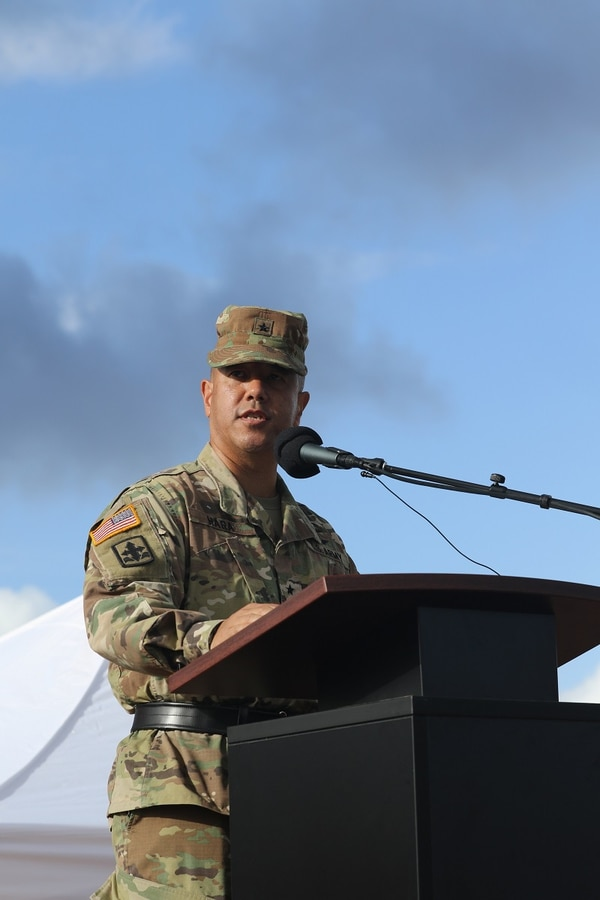 Brig. Gen. Kenneth S. Hara addresses a formation of soldiers for the first time as the commander of the Hawaii Army National Guard during the Hawaii Army National Guard change of command ceremony, Wheeler Army Airfield, Wahiawa, Hawaii, Oct. 15, 2017. (Staff Sgt. Christopher Martens/Army National Guard)