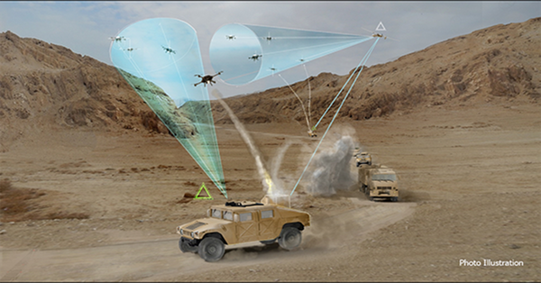 The U.S. military is searching for an efficient and affordable solution to UAV threats. Microwave and laser technologies are being demonstrated as a potential solution. (DARPA)