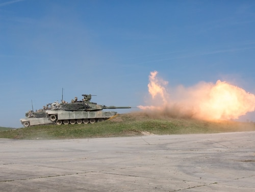 U.S. Soldiers assigned to the 1st Battalion, 63rd Armor Regiment, 2nd Armored Brigade Combat Team, 1st Infantry Division, conduct training with an M1A2 Abrams tank during Combined Resolve X Live Fire Exercise at Grafenwoehr, Germany, April 19, 2018. The Joint Warfighting Assessment (JWA) helps the Army evaluate emerging concepts, integrate new technologies, and promote interoperability within the Army, with other services, U.S. allies, and other coalition partners. JWA helped to evaluate some of the early concepts emerging as part of Multidomain Operations doctrine (Photo by Spc. Genesis Gomez/U.S. Army)