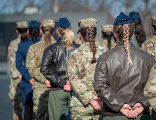 As an outcome of the 101st Air Force uniform board, Air Force women will be able to wear their hair in up to two braids or a single ponytail, among other changes. The new changes were effective upon publication of the new standards in Air Force Instruction 36-2903, Feb. 10, 2021. (Chief Master Sgt. Jaimee Freeman/Air Force)