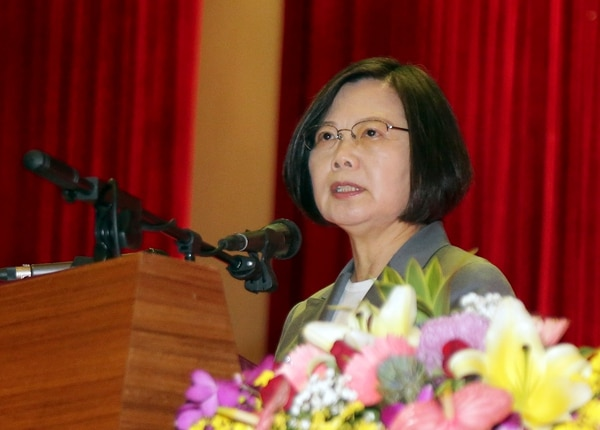 Taiwan's President Tsai Ing-wen delivers a speech during the Armed Forces Day ceremony in Taipei on Friday. (Military News Agency via AP)